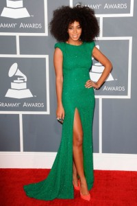 Solange Knowles Grammys- Ralph & Russo Couture, Christian Louboutin