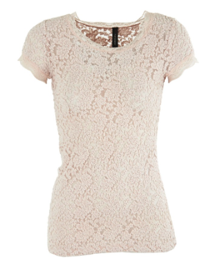 MarcCain Lace Tee in Pale Pink