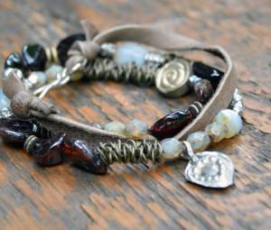 boho bead and leather wrap